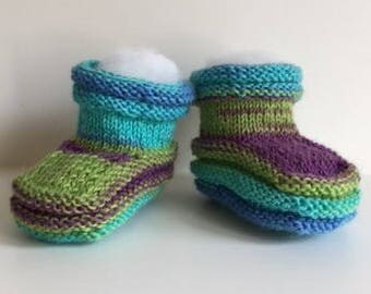 Baby Booties Handknit in Fun Shades of Blue, Violet, and Green - Wool Blend Yarn - Baby Cuteness