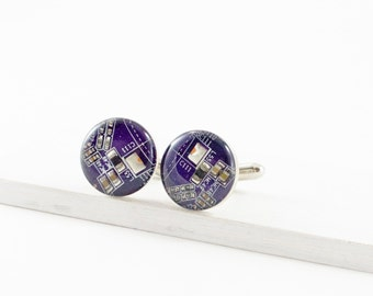 Violet Circuit Board Cufflinks, Recycled Motherboard Jewelry, Geeky Wedding Accessories, Nerd Fathers Day Gift, Computer Programmer
