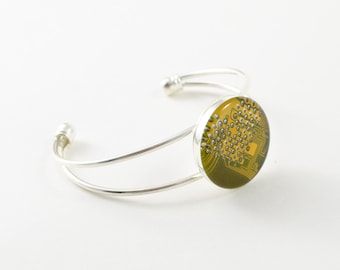 Recycled Circuit Board Bracelet Yellow - Circuit Board Jewelry - Geeky Cuff Bracelet - Technology Gift for Her - Techie Jewelry  Upcycled