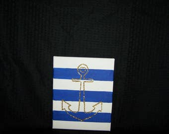 Gold Glitter Anchor Blue and White Stripes 8x10 canvas