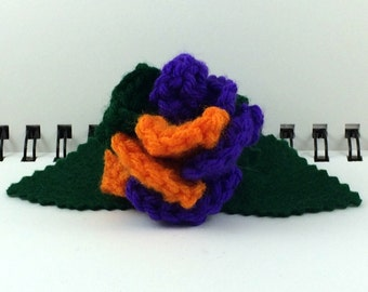 Crocheted Rose Barrette - Villain (SWG-HB-VIJK02)