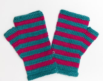 Striped Teal and Pink Fingerless Mitts, Hand Knitted Wool Fingerless Gloves, Knitwear, Fall and Winter Fashion