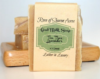 Tea Tree, Lavender and Oatmeal Goat Milk Soap from Rose of Sharon Acres