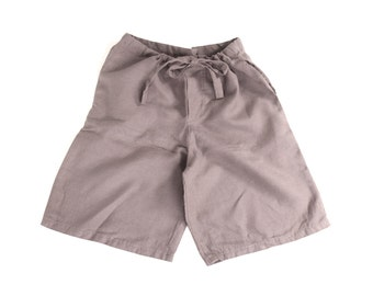 SALE 276: Mens Organic Linen Drawstring Shorts // Charcoal // Sizes SM + XL
