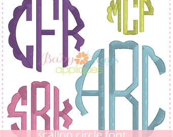 "Scallop Circle Monogram Font 2"", 3"", 4"" & 5"""