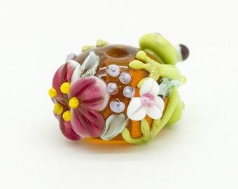 Made to order Margo lampwork beads frog rose