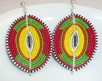 The Grenadines earrings - silver plated ovals, seed beads, non-tarnish artistic wire, sterling links and posts