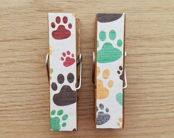 Kitchen Magnets - Set of 2 - Large Clothespin Clips - Pet Paw Prints - Dog Prints - Easter Basket Stuffer - Teacher Gifts