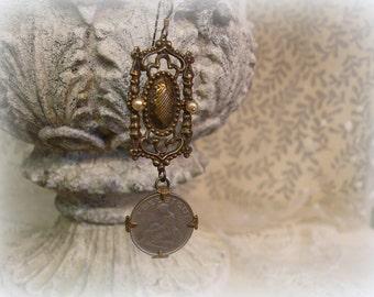 belgique one of a kind vintage assemblage SINGLE EARRING 100 per cent vintage findings lovely vintage belgian coin