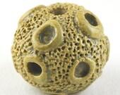 Round Crater Bead, Dark Oatmeal Bead, Tan bead, Round Bead, Stoneware Beads, Ceramic Beads, Artist Beads, Beads for Jewelry, Stringing Beads