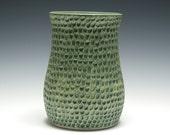 Matte Green Vase, Hand Carved Dimpled Pattern, Handmade Pottery, Green Ceramic Vase, Home Decor