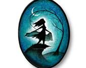 Original Acrylic Veil Dancer Flowing Painting Bold Unique Bellydancer Veils Dance Tree Moon Art on Oval Pine Wood Panel Artist Carly Landry