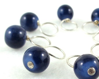 Midnight Cruise Stitch Marker Drops for Knitting or Crochet (Choose Your Size - Set of 8)