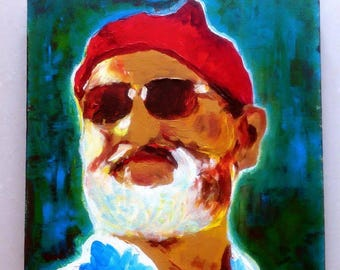 Original Painting on Canvas - THE LIFE AQUATIC with Steve Zissou