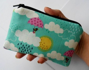 Zipper Pouch Little Padded Coin Purse ECO Friendly NEW Rain birds on Teal