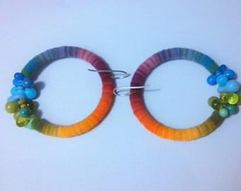 Rainbow lasercut merino wool and lampworked glass earrings