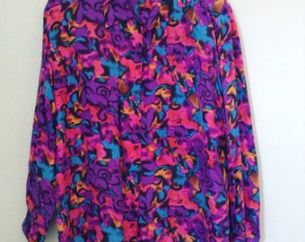 Vintage silk abstract blouse
