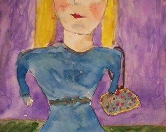 """Wonderful, quirky naive painting, charming style, """"Girl with Purse"""", pen and ink, acrylic on art paper, very unique, self taught artist"""