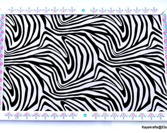Black And White Zebra Corkboard White Frame With Bling Cork Board 17x11 Tack Board Cork Bulletin Board Cork Message Board