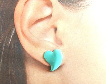 Blue Heart Metal Stud Earrings Aqua Heart Earrings Vintage Heart Stud Earrings 1980 Blue Heart Earrings