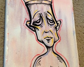 """JOS-L Original Art 8"""" X 10"""" on Canvas  Painting Pop Abstract Outsider Graffiti Surreal Lowbrow Illustration"""