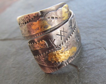 Adjustable Silver Ring Wrap Ring Keum Boo Ring BOHO Silver and Gold Adjustable Ring Rustic Silver Jewelry Stamped silver Ring