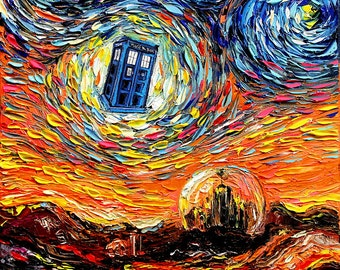 Dr Who Art - Tardis Starry Night CANVAS print Doctor Who van Gogh Never Saw Gallifrey Aja 8x8 10x10 12x12 16x16 20x20 24x24 30x30