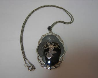 Siam Vintage Sterling Silver Nielloware Pendant/Brooch Necklace Sita Goddess of Lightning MoonMagicTreasures Collectable