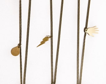 Triangle Brass Charm Necklace