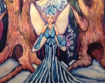 Fantasy Art Original Winter Solstice Snow Fairy in Forest With Full Moon Mixed Media Illustration