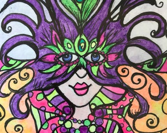 Mardi Gras New Orleans Feather Mask Fairy Mixed Media Black Light Reactive Illustration