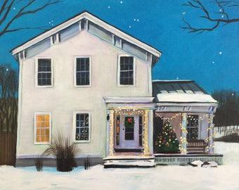 Custom House Portrait 8x10 acrylic on canvas