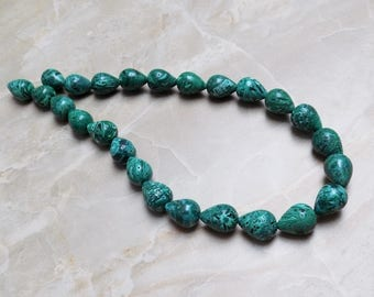 Green Stone Mosaic Teardrop beads