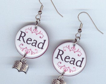 Literary Read Jewelry Earrings - readers teachers bookish librarian gift  book club - book charm - Designs by Annette