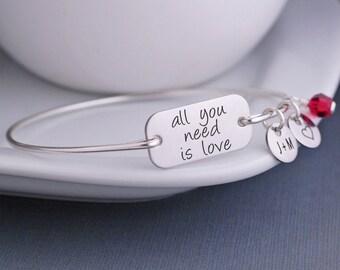 All You Need Is Love Bangle Bracelet, Inspirational Jewelry, All You Need is Love Jewelry Gift, John Lennon, Beatles, Custom Charm Bracelet