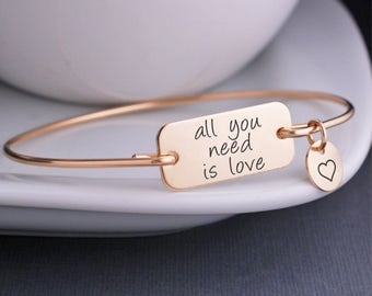 Gold All You Need is Love Bracelet, Custom Love Jewelry, Gold Bangle Bracelet, Wedding Day Gift for Bride, Heart Charm, John Lennon