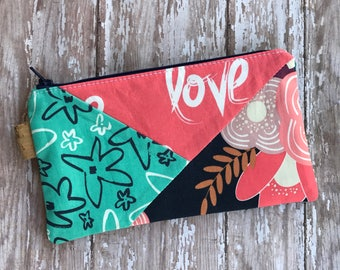 Floral Zipper Pouch Pencil Pouch Floral Pencil Case Gift For Her School Supplies Patchwork Pouch Cosmetic Bag Organizer Bag Handmade Bag