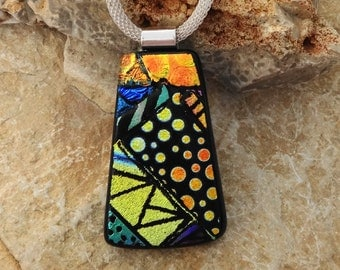 Gold and Copper Hand Etched Dichroic Glass Necklace, Dichroic Jewelry, Picasso Pendant, Fused Glass Pendant, Zentangle Style Glass Pendant