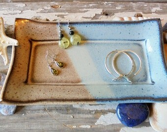 Pottery Spoon Rest - Butter Dish - Jewelry Tray - Olive Dish - Serving - Beach House - Kitchen Decor - Blue & Beige - Stoneware Pottery