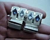 High Quality Vintage Blue Rhinestone Cuff Links