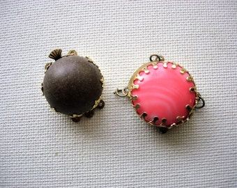 Pair of Vintage Button Style Clasp Closures