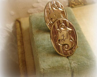 eXquisite engraved antique monogram earrings . circa late 1800s early 1900s gold filled over sterling script initials J N