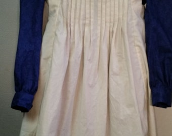 Girl's prairie dress, pinafore, and slat bonnet size 6