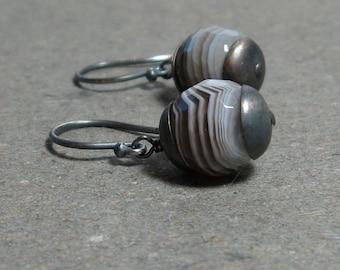 Botswana Agate Earrings Brown Gemstones Oxidized Sterling Silver Earrings
