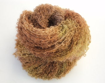Chestnut, Hand Dyed, Hand Painted, Looped, Mohair, Yarn, Brown
