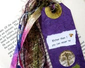 Richer than I - Earth Bookmark - handmade papers, flower, alyssum, book lover, reader, librarian, teacher gift, graduation gift, Mothers Day