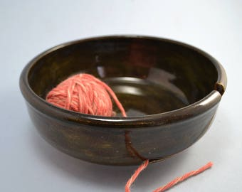 Stoneware yarn bowl for knitters and crocheters