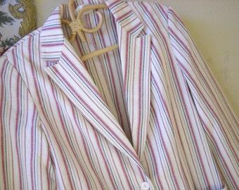 Vintage 70s Red White Blue Striped Jacket KORET of California Small/Medium