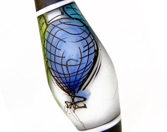 Aqua Blue Green Balloons Illustration in Glass, handmade lampwork glass bead focal by JC Herrell