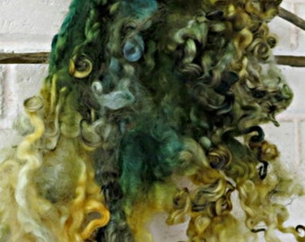 Teeswater Wool Fleece - Curly Locks - Yellow, Green, Pale Blue Hand Dyed Wool - Spinning - Felting - Lemon Balm and Rosemary